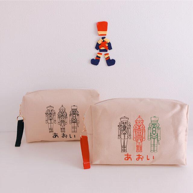 【おむつポーチ】【名入れ】兵隊さん 男の子 お名前 オーダー 刺繍   ベビー 出産祝い赤ちゃん【無料ラッピング】 heitaiの画像1枚目