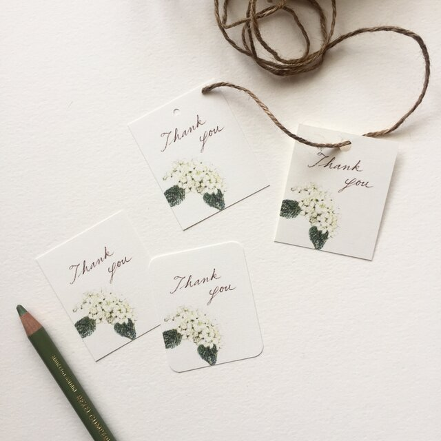小さな白い紫陽花のメッセージカード タグ 40枚の画像1枚目