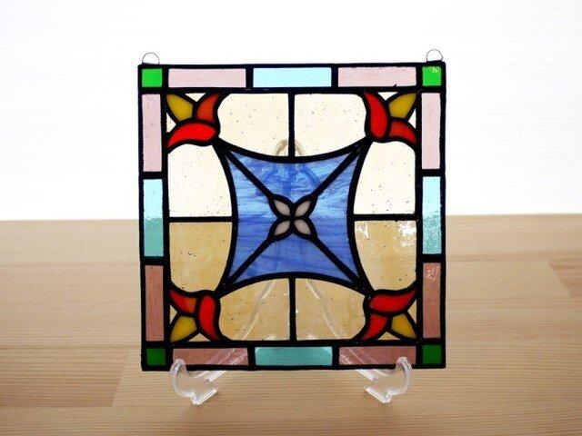 ステンドグラス ミニパネル 花紋 15cmの画像1枚目