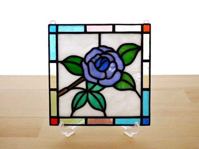 ステンドグラス ミニパネル 青バラ 15cmの画像1枚目