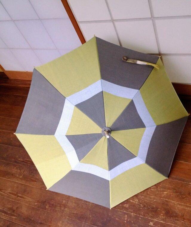 手織り布の日傘~草木染・綿~の画像1枚目