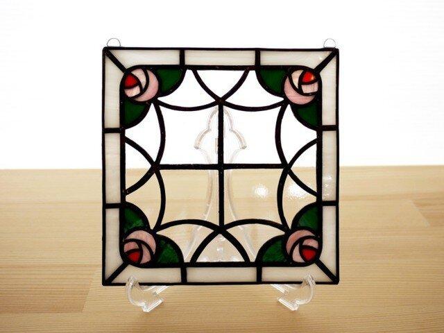 ステンドグラス ミニパネル ローズガーデン 15cmの画像1枚目