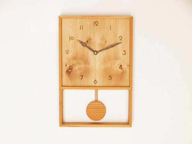 木製 箱型 振り子時計 ケヤキ材13の画像1枚目