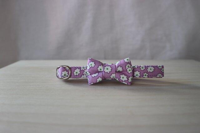 リボン首輪 Classic Flower purpleの画像1枚目
