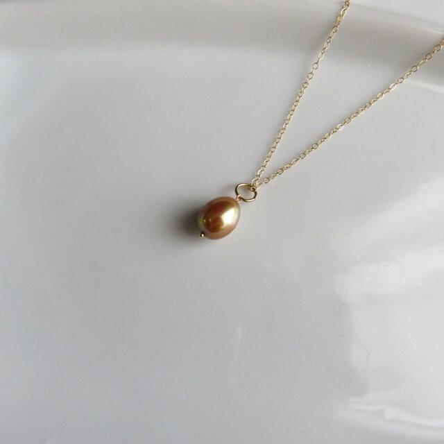 ゴールドの淡水パール ペンダント MN0520-004の画像1枚目