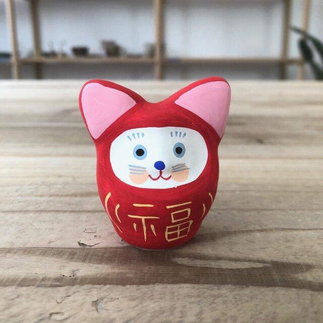 猫だるま 赤色の画像1枚目