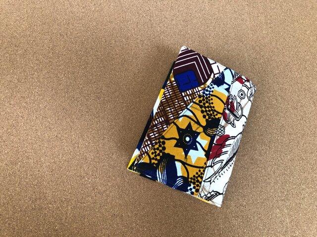 e145-アフリカ布パッチワーク文庫本カバーの画像1枚目
