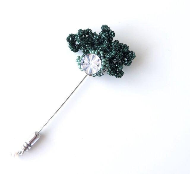 編みモチーフ ラメ糸&ミラーパーツのハットピン(グリーン)の画像1枚目