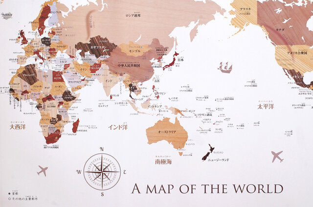 寄木風木目調のおしゃれな世界地図ポスターB2の画像1枚目