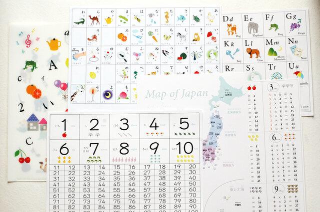 人気の7点 知育ポスターセット♪あいうえお アルファベット すうじ 日本地図 白地図  A4 送料無料の画像1枚目