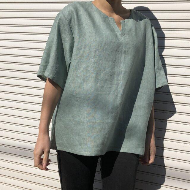 """男女とも使える""""リネン100%""""涼しいメンズTシャツ(浅葱色・半袖)の画像1枚目"""