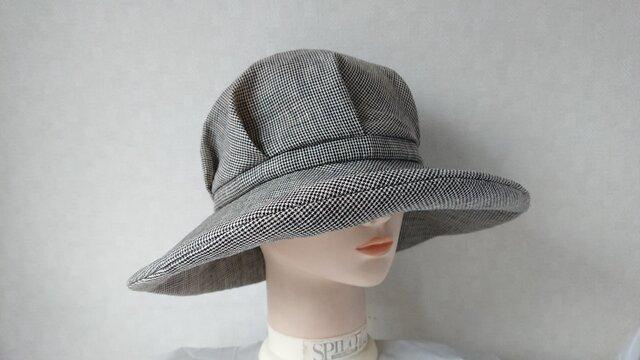 魅せる帽子☆【受注製作】超軽量!!とにかく涼しい1枚仕立て♪リネンのキャプリーヌ ~千鳥格子の画像1枚目