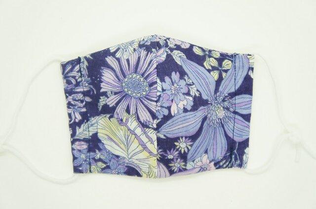【ダブルガーゼの立体布マスク】《子ども用》花柄・ネイビーの画像1枚目