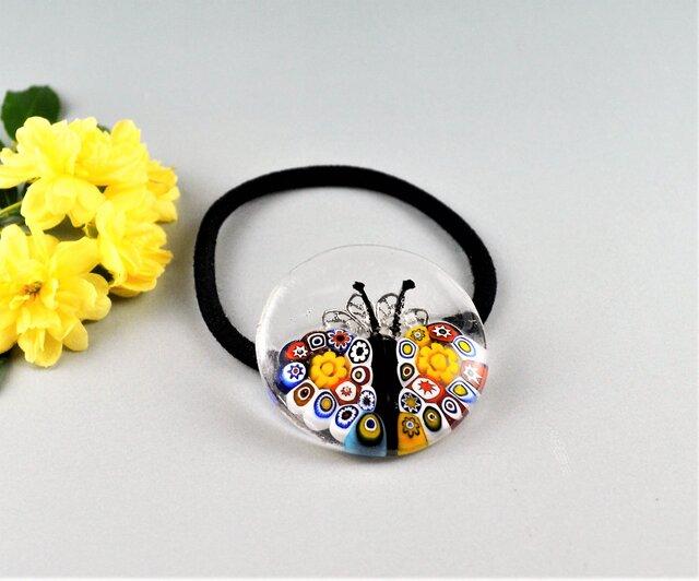 小さなミルフィオリの蝶々の髪飾りヘアゴム)の画像1枚目