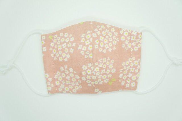 【ダブルガーゼの立体布マスク】《子ども用》小花のブーケ・ピンクの画像1枚目
