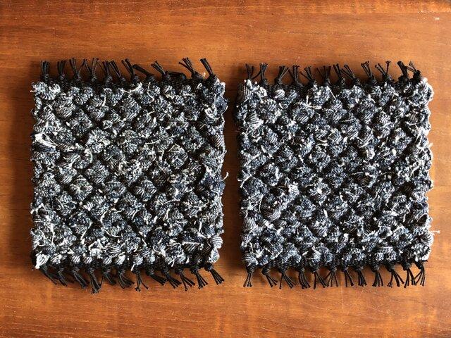 裂き織りコースター*2枚セット -denim01-の画像1枚目