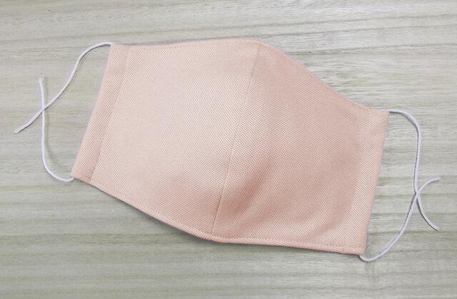 接触冷感 夏用 立体マスク 大人用大きめ ◆伸縮コットンニット&ダブルガーゼ 3層◆ ピンク1枚 マスク用ゴム使用の画像1枚目