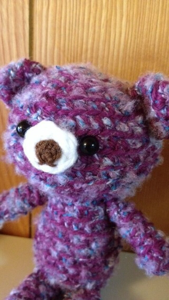 手編みクマ ぶどう色クマ子の画像1枚目