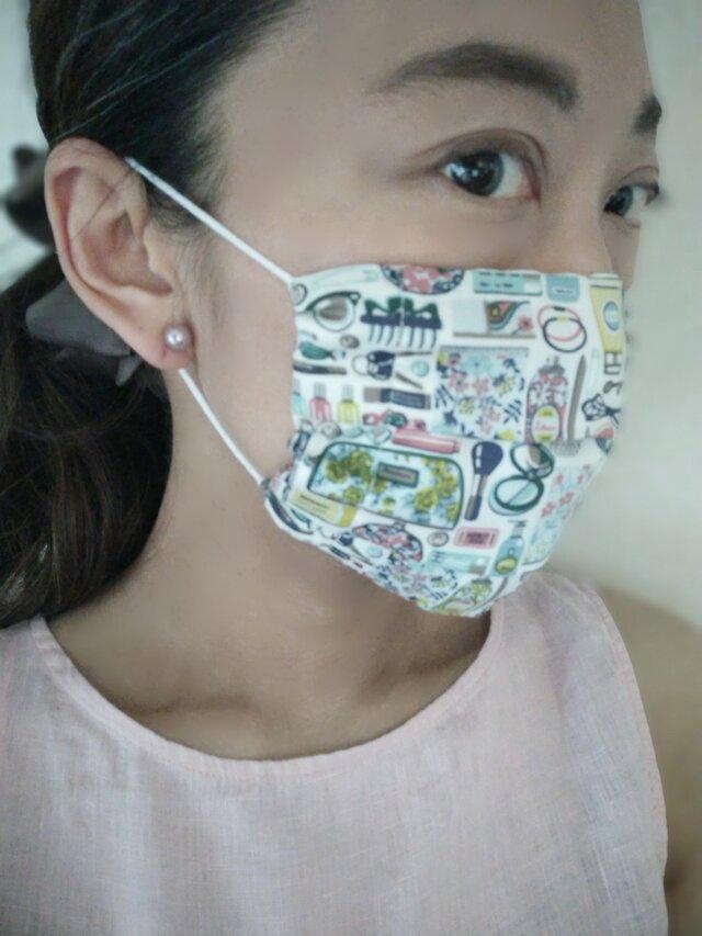即納*涼しい夏用マスク 大人用 夏マスク リバティ ダブルガーゼ  ガーゼ 日本製 マスク プリーツマスク マスクカバーの画像1枚目