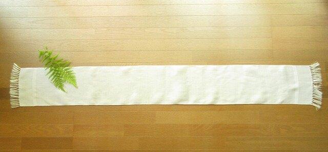 1)真っ白の麻(ラミー)の手織りテーブルランナーの画像1枚目