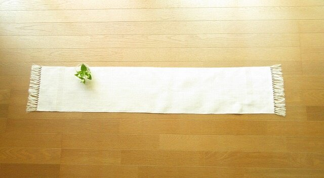 5)真っ白の麻(ラミー)の手織りテーブルセンターの画像1枚目