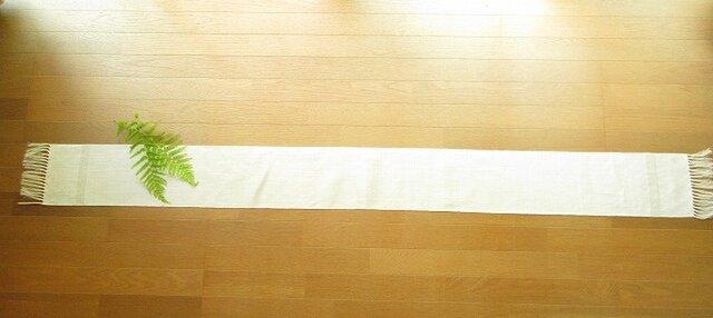 7)真っ白の麻(ラミー)の手織りテーブルランナーの画像1枚目