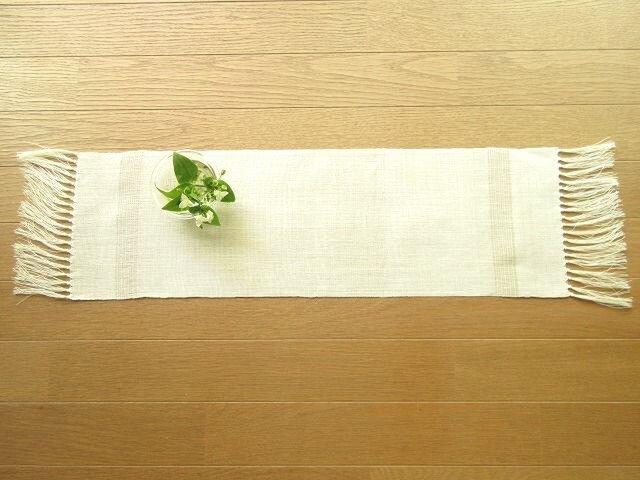 11)真っ白の麻(ラミー)の手織りテーブルセンターの画像1枚目