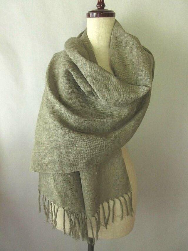 2)手織りシルクストール 桜染め グレーの画像1枚目