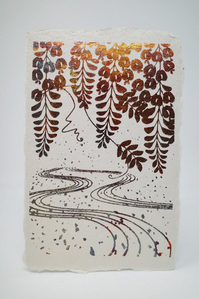 ギルディング和紙葉書 藤 黄混合箔の画像1枚目