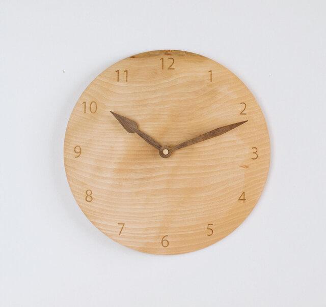 木製 掛け時計 丸 カバ材6の画像1枚目
