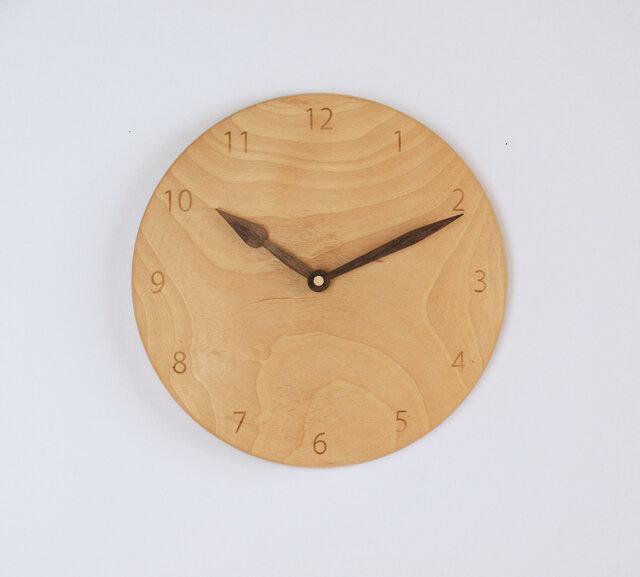 木製 掛け時計 丸 カバ材8の画像1枚目