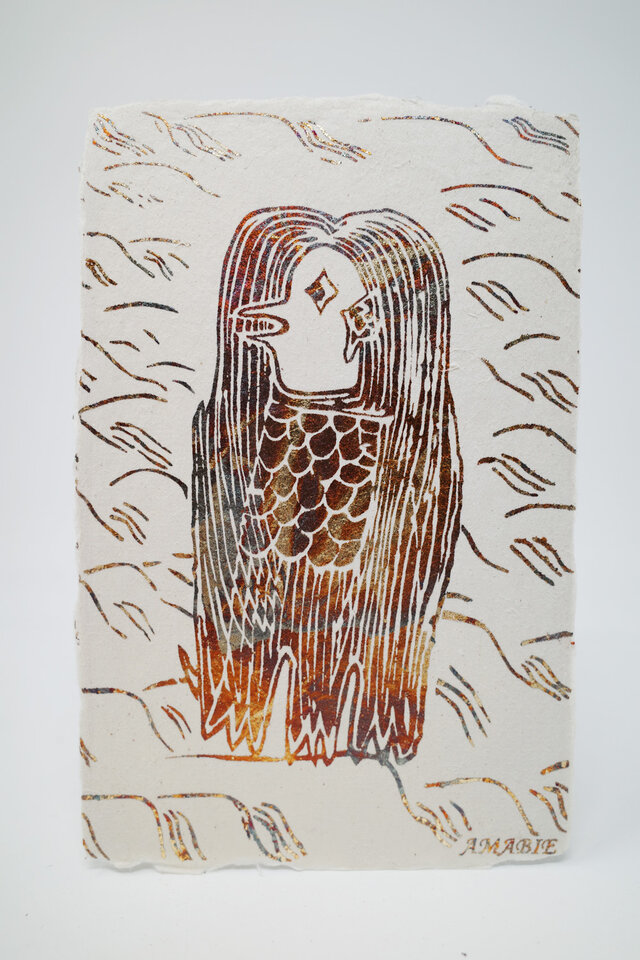 ギルディング和紙葉書 アマビエ1 黄混合箔の画像1枚目