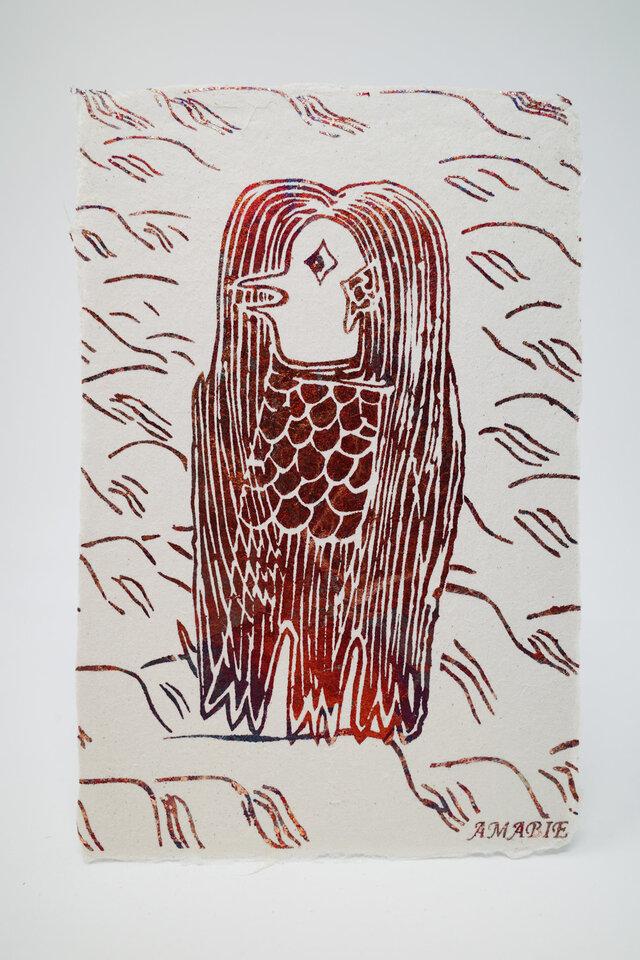 ギルディング和紙葉書 アマビエ1 赤混合箔の画像1枚目