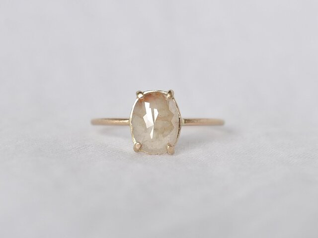 Frosted Diamond Ring Beige Ovalの画像1枚目