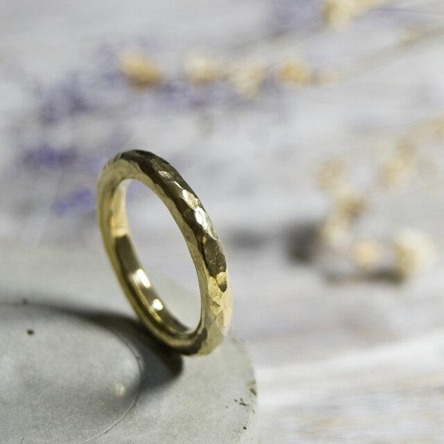でこぼこ ブラスラウンドプレーンリング 3.0mm幅 鎚目 真鍮|BRASS RING 指輪 シンプル アクセサリー|159の画像1枚目