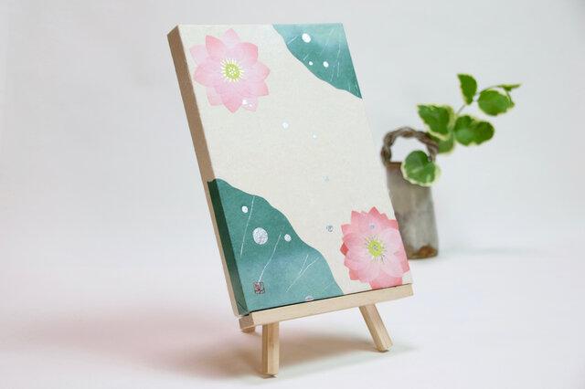 和紙貼り絵原画【水はす】-サムホールサイズの画像1枚目