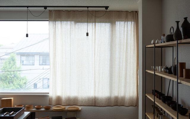 【7月中旬以降お届け】リネンのシンプル吊りカーテン|サイズオーダーの画像1枚目