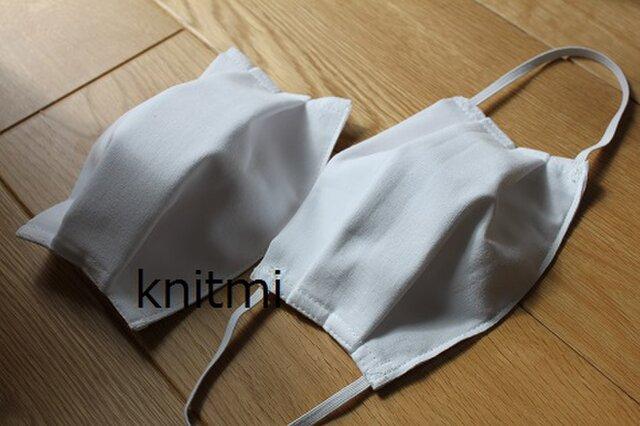 夏マスク★すぐ発送★日本製★4層プリーツマスク 白マスク 日本製上質コットン100% 2枚セット フィルターポケット付き 洗濯可の画像1枚目