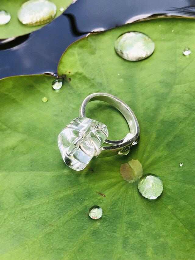 凍った水のリング/ガラス・950silver #16の画像1枚目