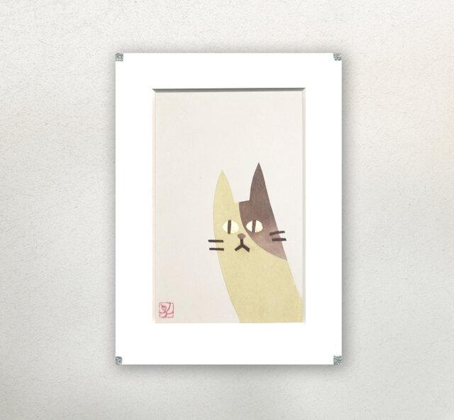 和紙貼り絵原画【ねこ】-ペーパーフレームの画像1枚目