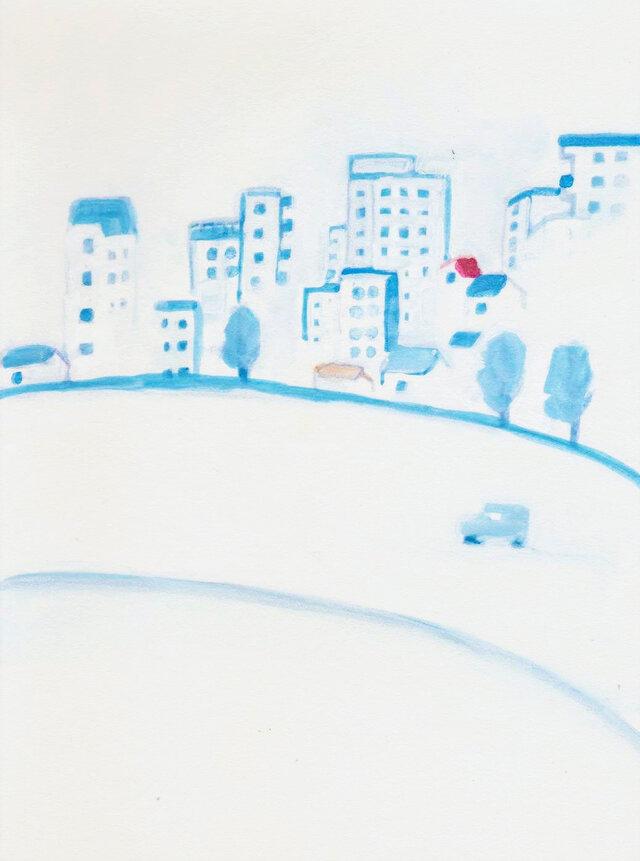 「都会の朝」イラスト原画  ※額縁入りの画像1枚目
