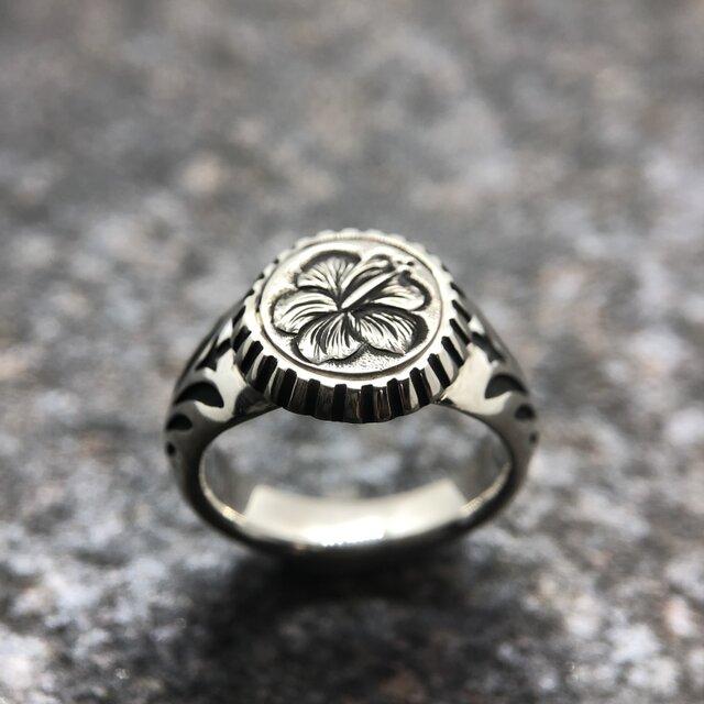 """Hawaiian Signet Ring """" ハイビスカスのハワイアン・シグネットリング""""の画像1枚目"""