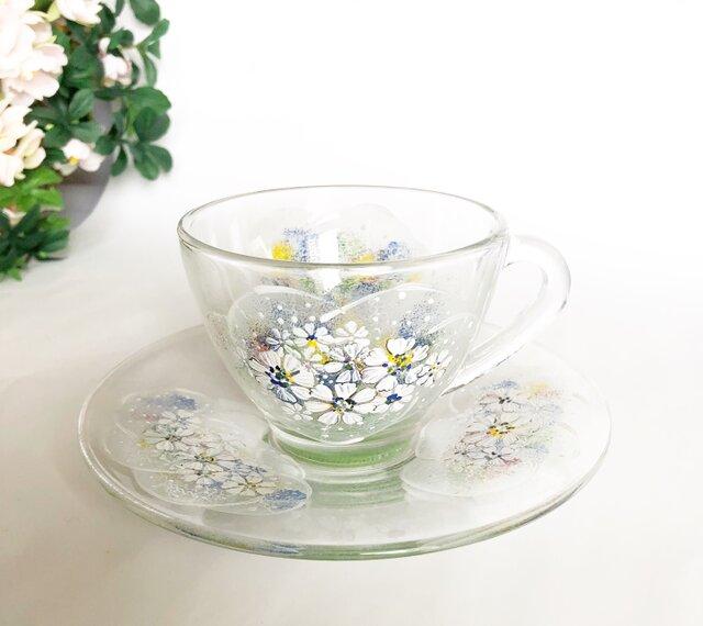 ハーブティーカップ(刺繍のように~お花を)緑系の画像1枚目