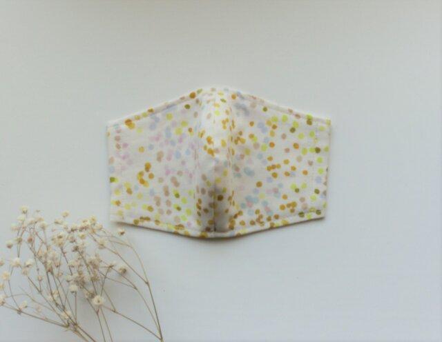 夏色マスク ふんわり薄地ダブルガーゼ(イエロー・ベージュ柄)受注制作の画像1枚目