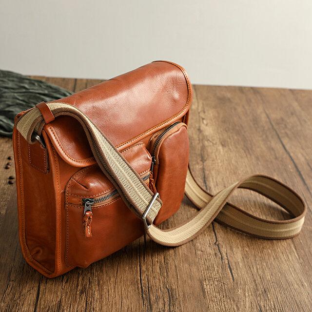 ヌメ革ショルダーバッグ斜め掛け通勤バッグの画像1枚目
