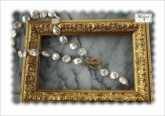 大粒淡水コインパールのYネックレスの画像1枚目