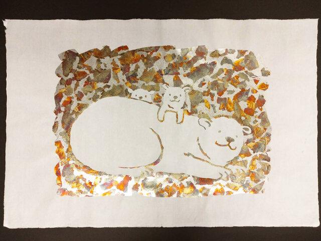 ギルディング和紙 大 polar bear シロクマ 白和紙 銀箔黃混合箔の画像1枚目