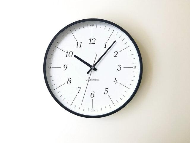 KATOMOKU plywood clock 18 km-110BLRC ブラック 電波時計 連続秒針の画像1枚目