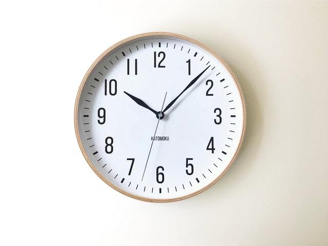 KATOMOKU plywood clock 19 km-111NARC ナチュラル 電波時計 連続秒針の画像1枚目
