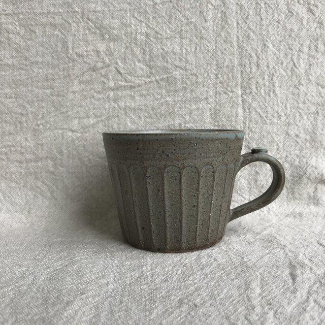 粉引きのマグカップ (水色しのぎ柄)の画像1枚目